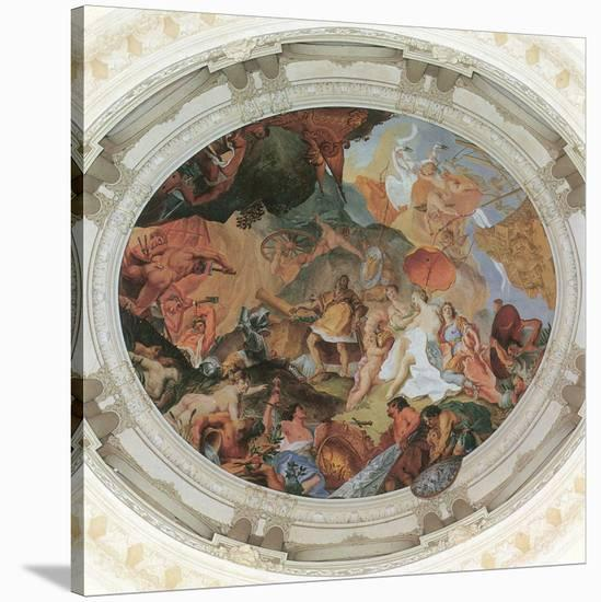 Venus has Aeneas' Weapons made by Vulcan-Cosmas Damian Asam-Stretched Canvas Print
