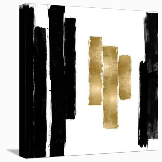 Vertical Black and Gold II-Ellie Roberts-Stretched Canvas Print