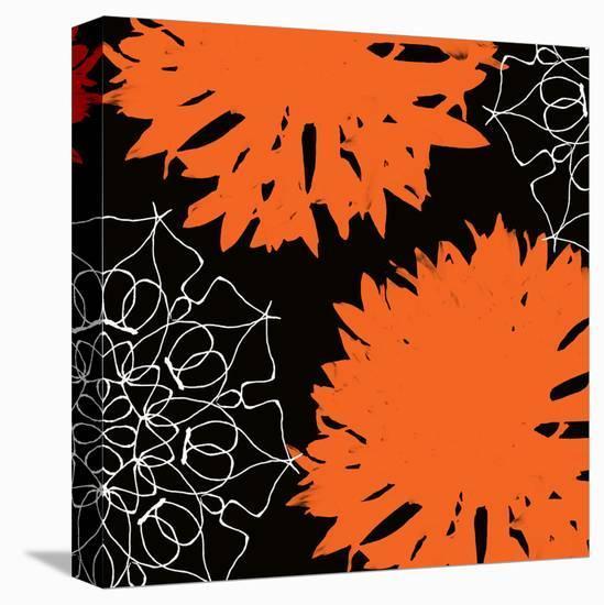 Vibrant orange floral-Yashna-Stretched Canvas Print