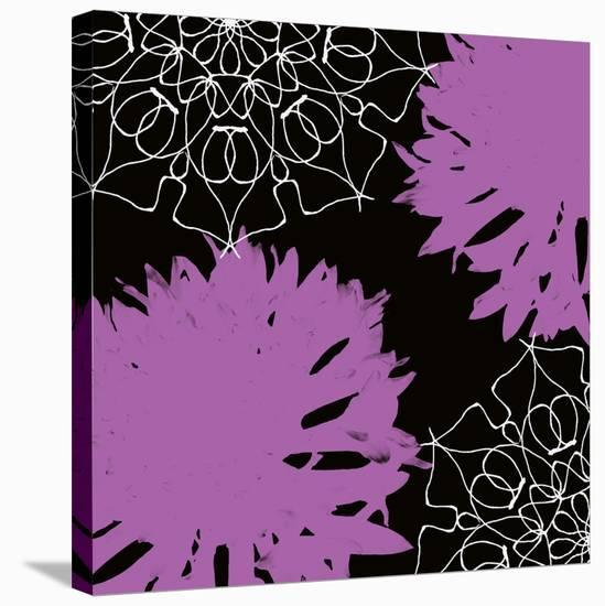 VIBRANT PURPLE FLORAL-Yashna-Stretched Canvas Print