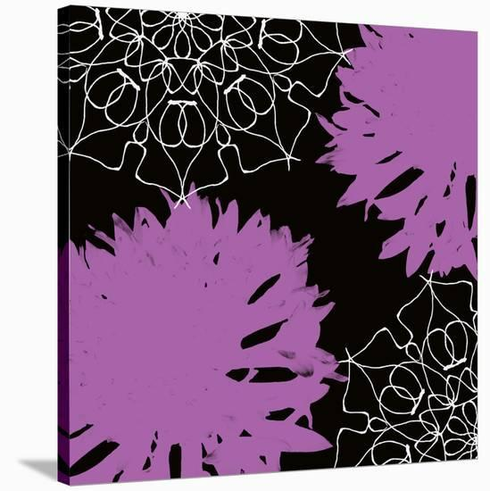 VIBRANT PURPLE FLORAL-Yashna-Stretched Canvas Print