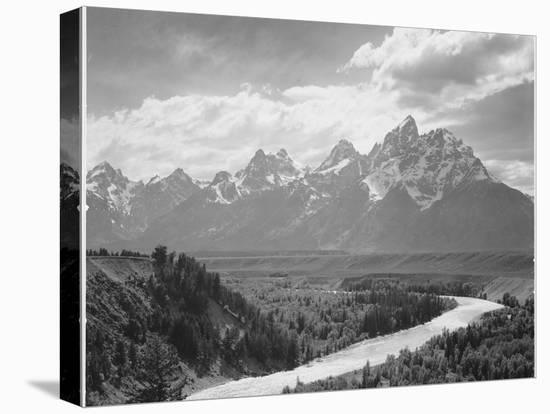 View From River Valley Towards Snow Covered Mts River In Fgnd, Grand Teton NP Wyoming 1933-1942-Ansel Adams-Stretched Canvas Print