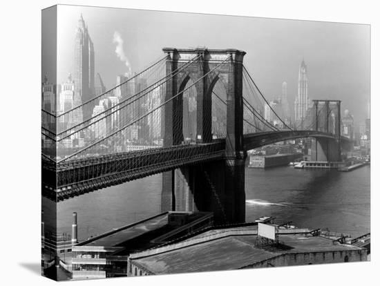 View of the Brooklyn Bridge and the Skyscrapers of Manhattan's Financial District-Andreas Feininger-Stretched Canvas Print