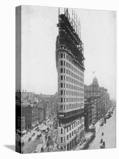 View of the Flatiron Building under Construction in New York City--Stretched Canvas Print