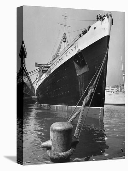 View of the Queen Mary Docked in New York City After It's Arrival-Carl Mydans-Stretched Canvas Print