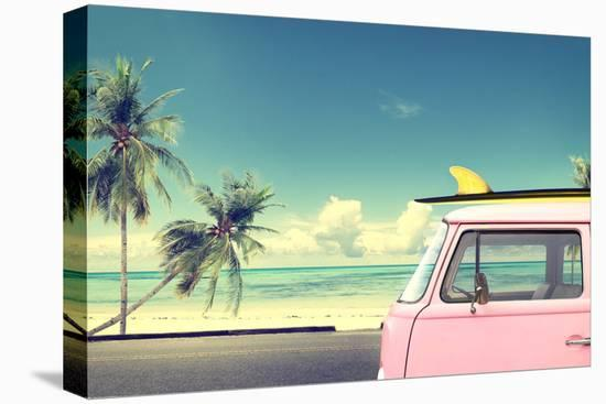 Vintage Car in the Beach with a Surfboard on the Roof-jakkapan-Stretched Canvas Print