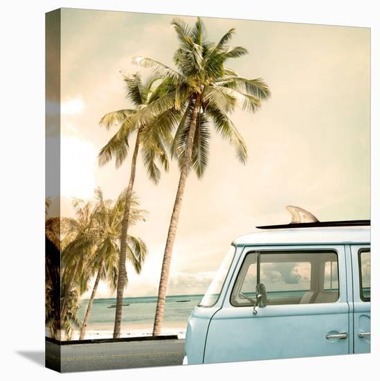 Vintage Car Parked on the Tropical Beach (Seaside) with a Surfboard on the Roof-jakkapan-Stretched Canvas Print