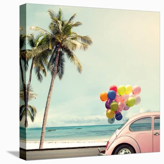 Vintage Card of Car with Colorful Balloon on Beach Blue Sky Concept of Love in Summer and Wedding H-jakkapan-Stretched Canvas Print