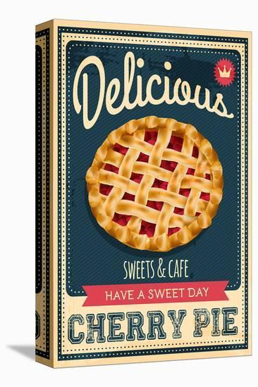 Vintage Cherry Pie Sign--Stretched Canvas Print