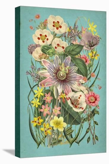 Vintage Flowers on Teal--Stretched Canvas Print