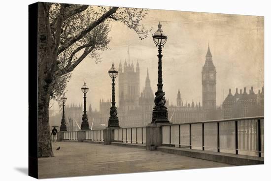 Vintage London Big Ben Thames--Stretched Canvas Print