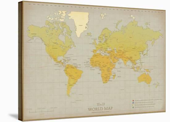 Vintage World Map-The Vintage Collection-Stretched Canvas Print