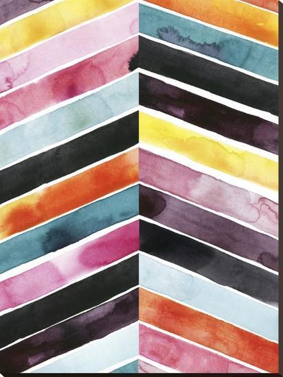 Vivid Watercolor Chevron I-Grace Popp-Stretched Canvas Print