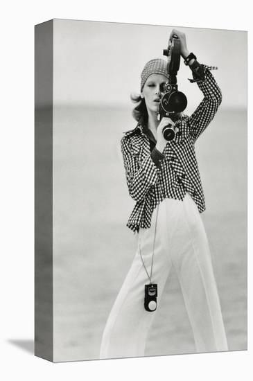 Vogue - April 1972 - Woman with a Film Camera-Gianni Penati-Stretched Canvas