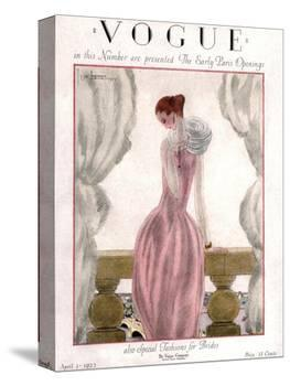 Vogue Cover - April 1923 - Pink Evening Gown-Georges Lepape-Stretched Canvas