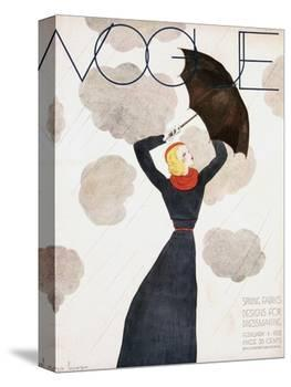 Vogue Cover - February 1933 - Umbrella Weather-Georges Lepape-Stretched Canvas