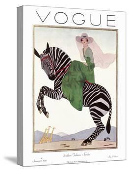Vogue Cover - January 1926 - Zebra Safari-Andr? E. Marty-Stretched Canvas