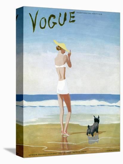 Vogue Cover - July 1937 - Beach Walk-Eduardo Garcia Benito-Stretched Canvas