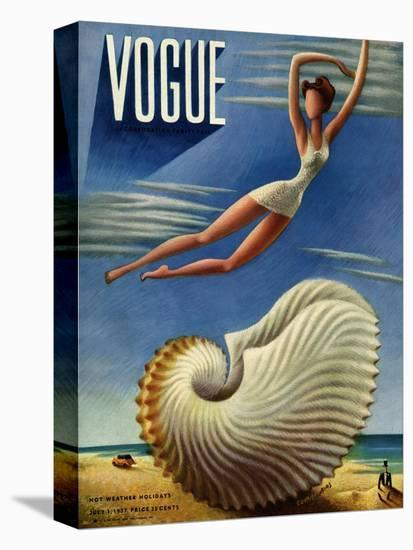 Vogue Cover - July 1937 - Surreal Shell-Miguel Covarrubias-Stretched Canvas
