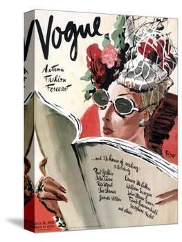 Vogue Cover - July 1941 - Summer Reading-René Bouét-Willaumez-Stretched Canvas