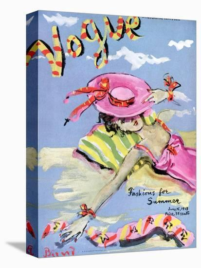 Vogue Cover - June 1939 - Sun Bathing-Christian Berard-Stretched Canvas
