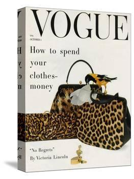 Vogue Cover - October 1958 - Animal Accessories-Richard Rutledge-Stretched Canvas