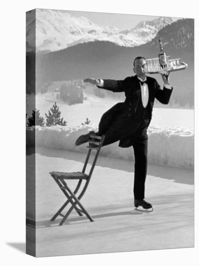 Waiter Rene Brequet with Tray of Cocktails as He Skates Around Serving Patrons at the Grand Hotel-Alfred Eisenstaedt-Stretched Canvas Print