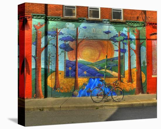 Wall Painting with Bike-Richard Desmarais-Stretched Canvas Print