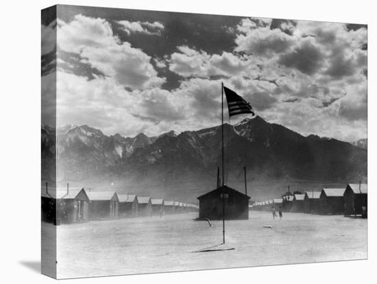 War Relocation Authority Center, Where Evacuees of Japanese Ancestry of WWII Reside-Dorothea Lange-Stretched Canvas Print