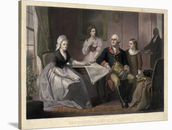 Washington and His Family-William Sartain-Stretched Canvas Print