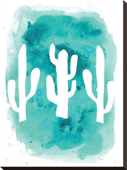 Watercolor Aqua Cactus-Jetty Printables-Stretched Canvas Print