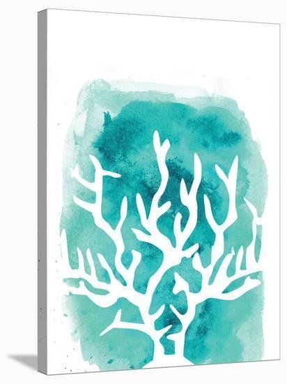 Watercolor Aqua Coral-Jetty Printables-Stretched Canvas Print