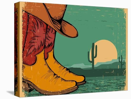 Western Background With Cowboy Shoes And Desert Landscape On Old Paper-GeraKTV-Stretched Canvas Print