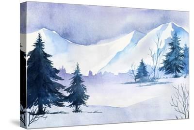 Winter Landscape Watercolor Landscape Illustration Christmas Background Art Print Alexgreenart Art Com