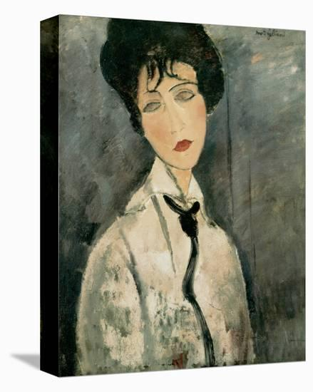 Woman in Black Tie, 1917-Amedeo Modigliani-Stretched Canvas Print