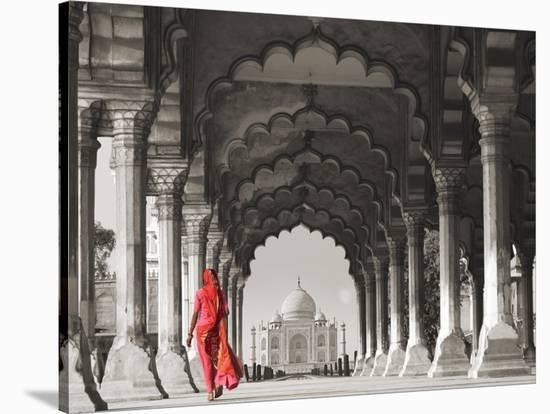 Woman in traditional Sari walking towards Taj Mahal (BW)-Pangea Images-Stretched Canvas Print