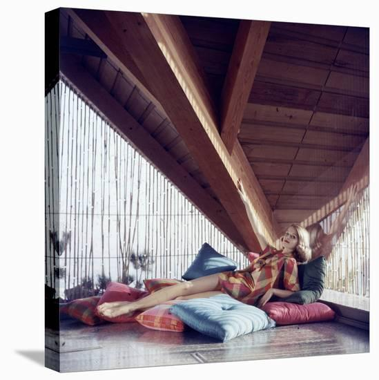 Woman Model Lounging on Pillows in Cabana Wearing Bikini Swimsuit Fashion. Cuba 1956-Gordon Parks-Stretched Canvas Print