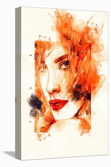 Woman Orange Face Illustration--Stretched Canvas Print
