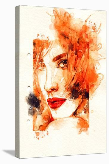 Woman Orange Face Illustration--Stretched Canvas Print