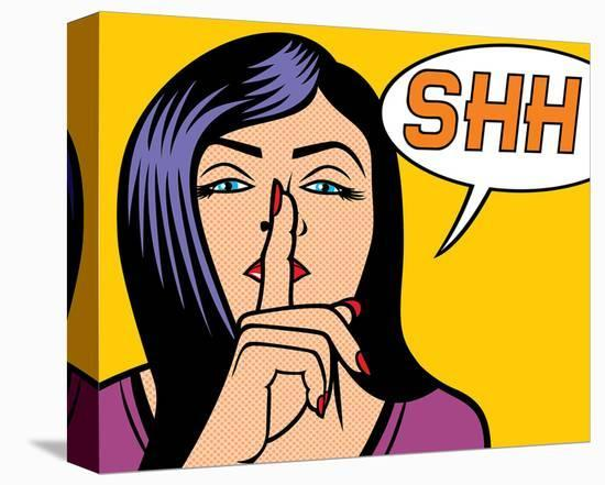 Woman Signaling Silence PopArt--Stretched Canvas Print