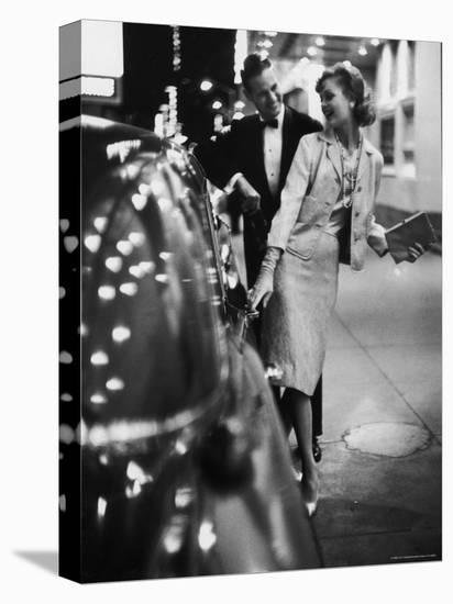Woman Wearing Daridow Copy of Chanel Evening Suit-Gordon Parks-Stretched Canvas Print