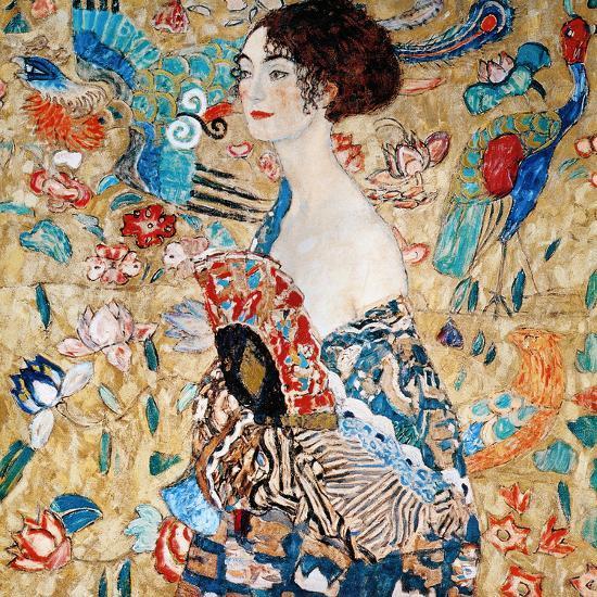 Woman with Fan-Gustav Klimt-Loft Art