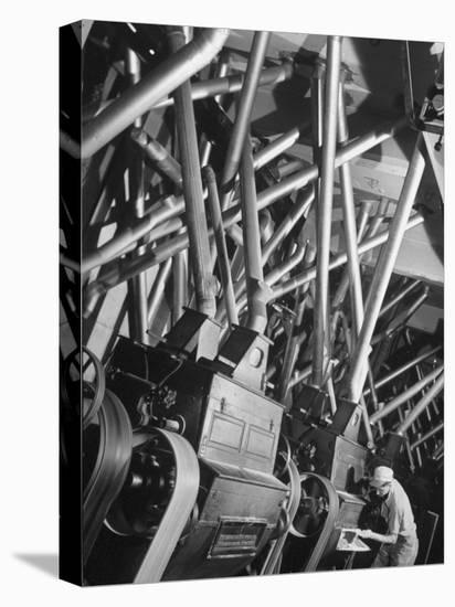 Worker Checking Quality Control at Flour Mill-Margaret Bourke-White-Stretched Canvas Print
