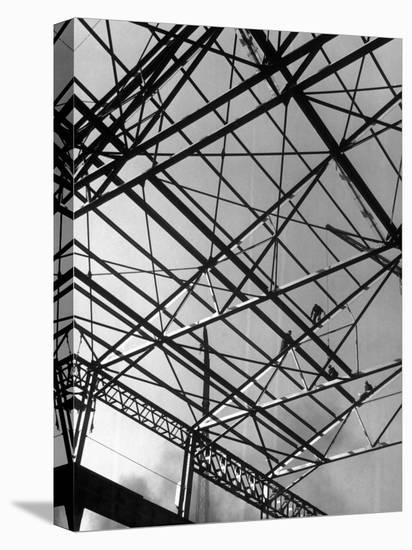 Workers on Roof Girders During the Construction of New Carnegie-Illinois Steel Plant-Margaret Bourke-White-Stretched Canvas Print