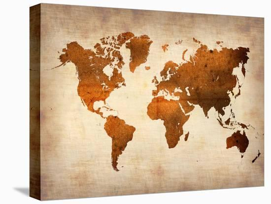 World  Map 7-NaxArt-Stretched Canvas Print