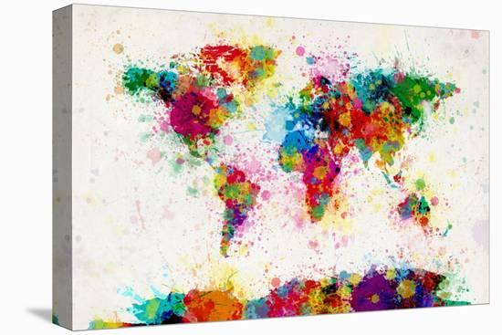 World Map Paint Splashes-Michael Tompsett-Stretched Canvas Print
