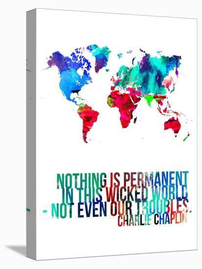 World Map Quote Charlie Chaplin-NaxArt-Stretched Canvas Print