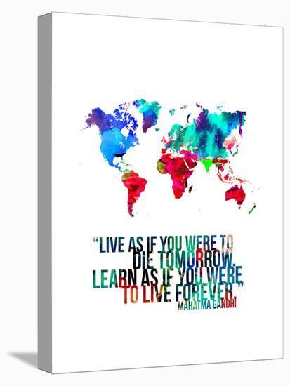 World Map Quote Mahatma Gandi-NaxArt-Stretched Canvas Print