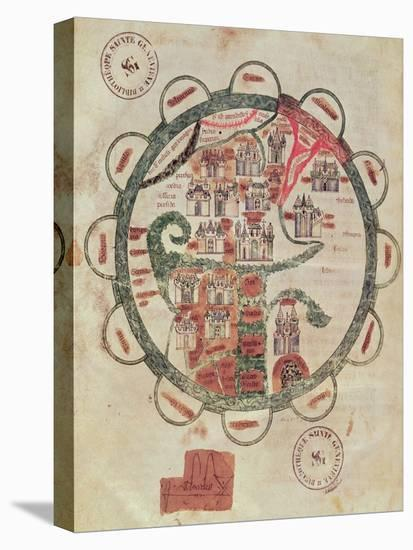 """World Map with Jerusalem in the Centre, from """"Chroniques de St. Denis"""", circa 1275--Stretched Canvas Print"""