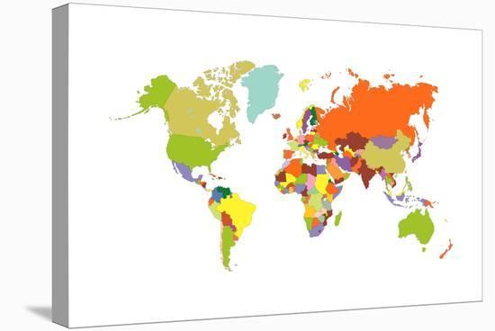 World Map-tony4urban-Stretched Canvas Print